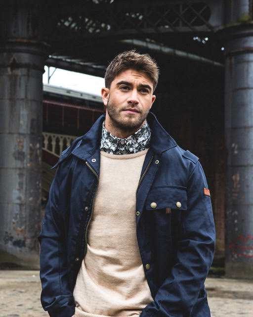 Ben wears the Spring Bexley in Navy and the Classic Crew in sand