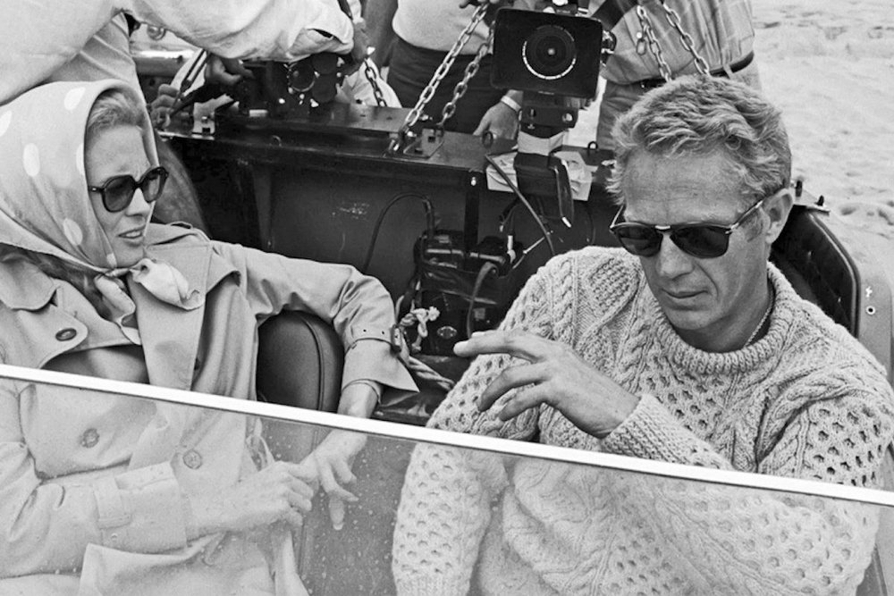 (Above)Steve McQueen on the set of Thomas Crown Affair (1968) wearing a classic Aran knit jumper paired effortlessly with his signature sunglasses.  (Below) (left) Elvis Presley performing Jailhouse Rock (1957) (right) John Lennon on holiday in Scotland (1969)