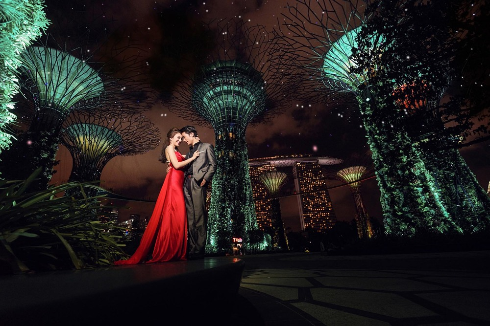 Singapore Wedding Photography Night at Gardens by The Baya