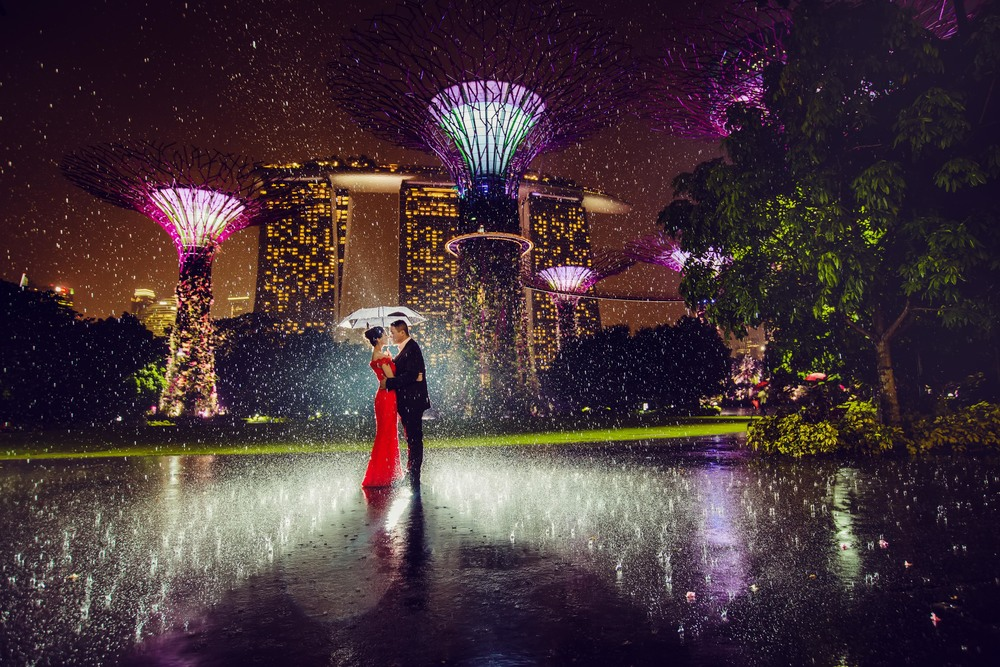 Pre-wedding photoshoot in raining night at Gardens By The Bay