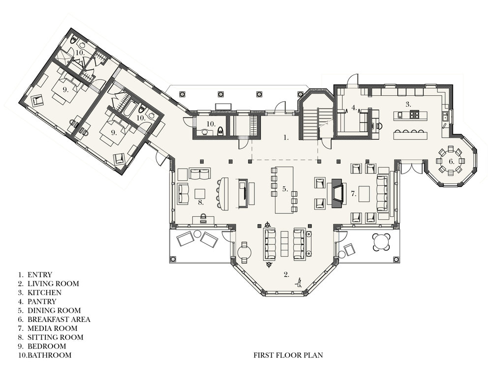 Beachfront Estate First Floor Plan by HDS Architecture