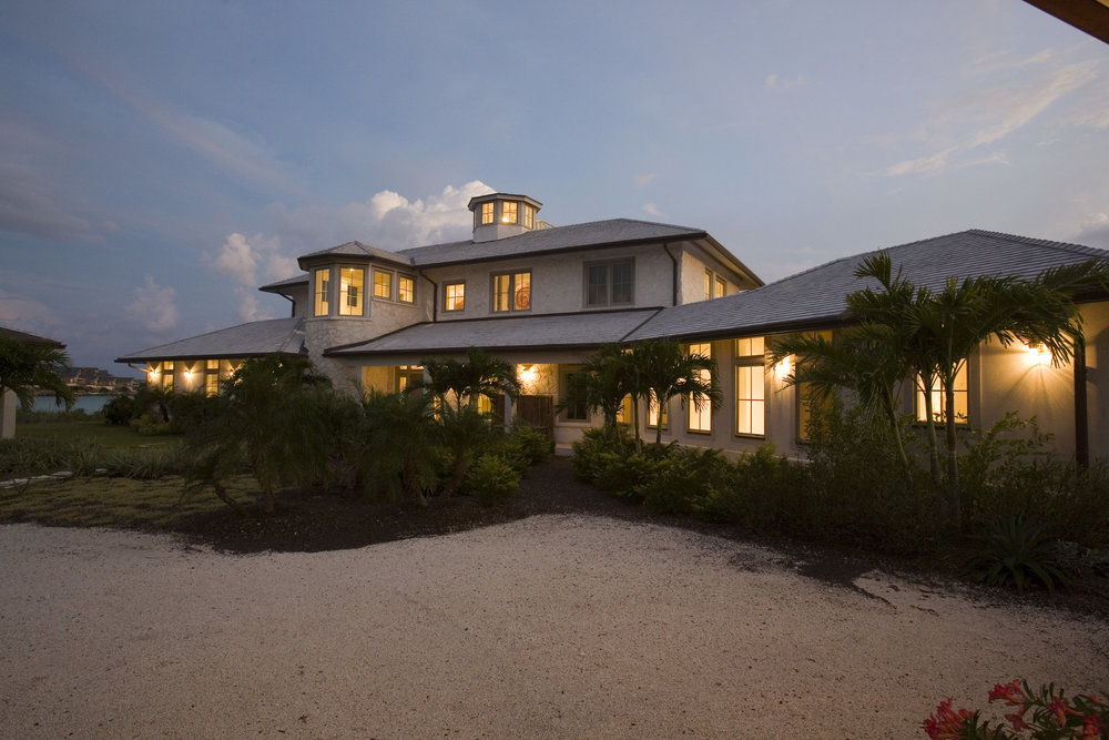 Beachfront Estate Bahamas at Night by HDS Architecture