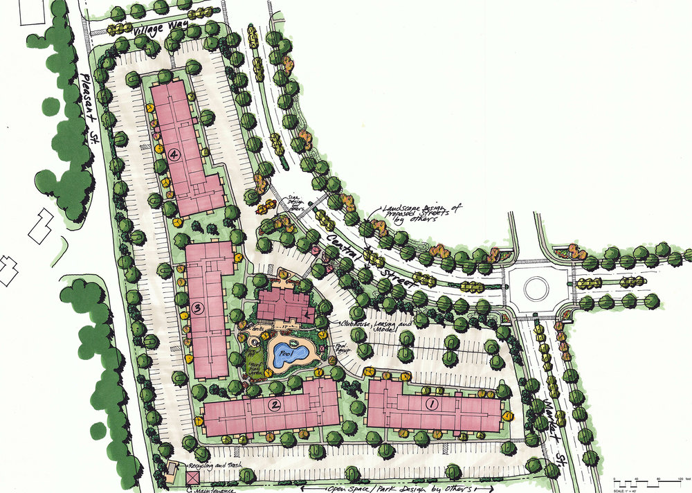 Tuscan Village Site Plan by HDS Architecture