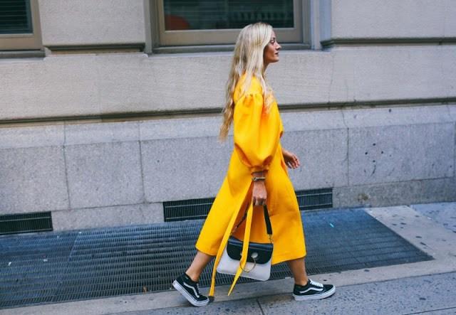 Kate Foley's Vans + Rejina Pyo dress combo.