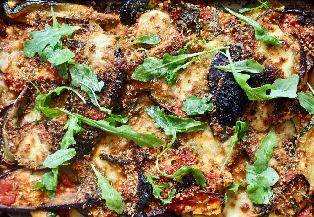 Crispy breadcrumb aubergine parmigiana