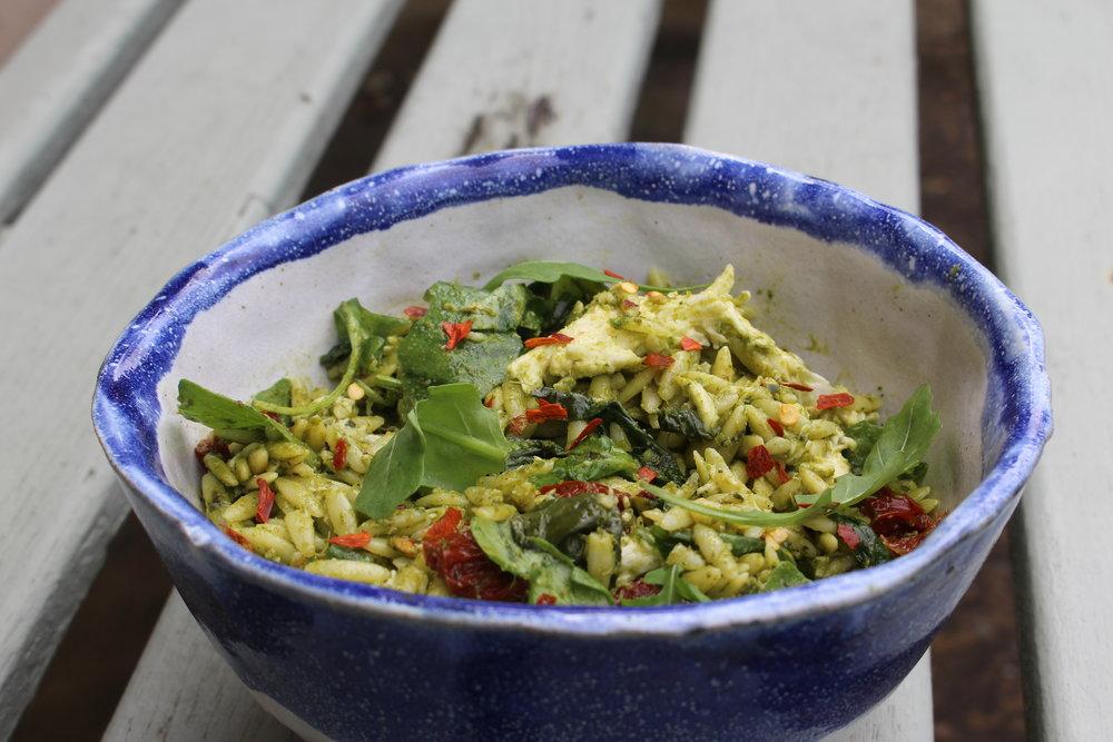 Kale pesto, orzo and mozzarella salad