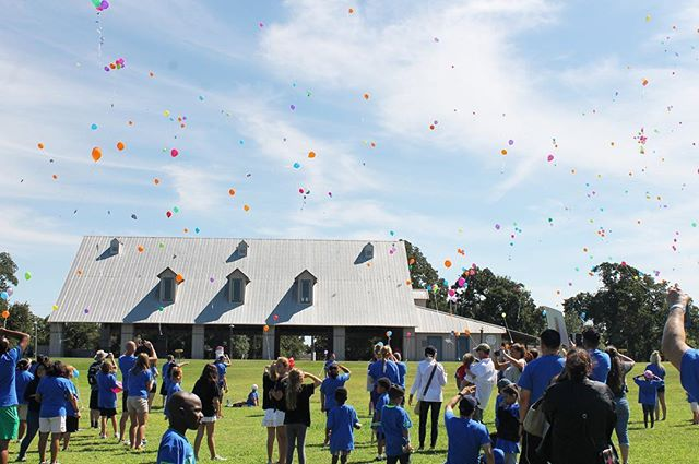 A beautiful shot from our friends over at @campforall - this past Sunday campers released balloons to celebrate the lives of loved ones affected by cancer.  Camp For All is a barrier free camp outside of Brenham, TX, where children and adults with challenges come to discover life. We're proud to be a part of the work they do!  #cbarch #designmatters #campforall