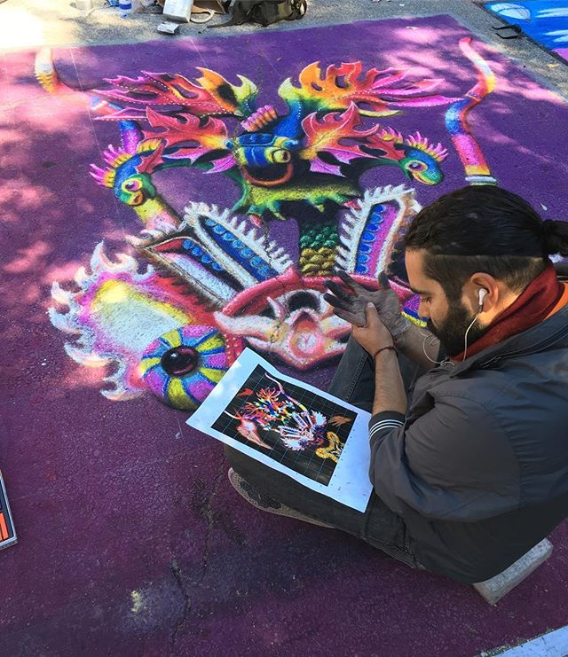 Houston Art Scene captured at Via Colori- Artist Cesar Polack at work. #viacolori #cbarch #houstonartscene #designmatters