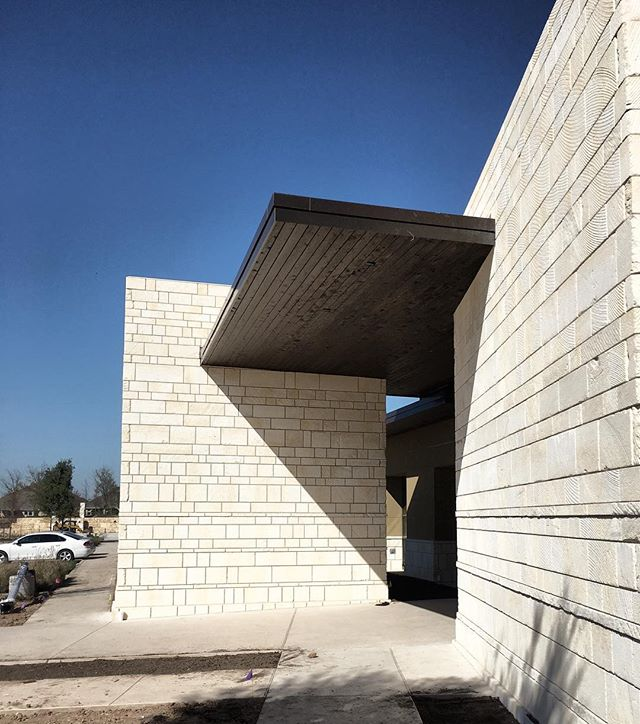Our new recreation center at Aliana is coming along! Here's a shot of the intersecting planes at the limestone entryway. #cbarch #designmatters #limestone