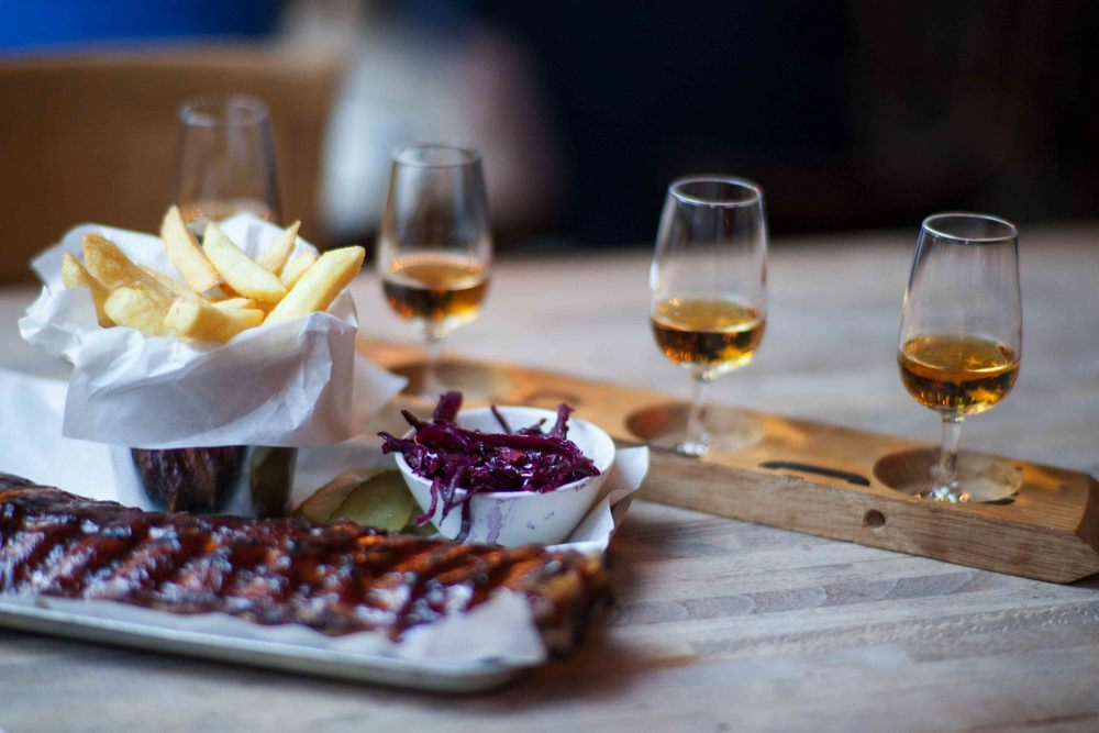 House smoked ribs, fries, flight of whisky