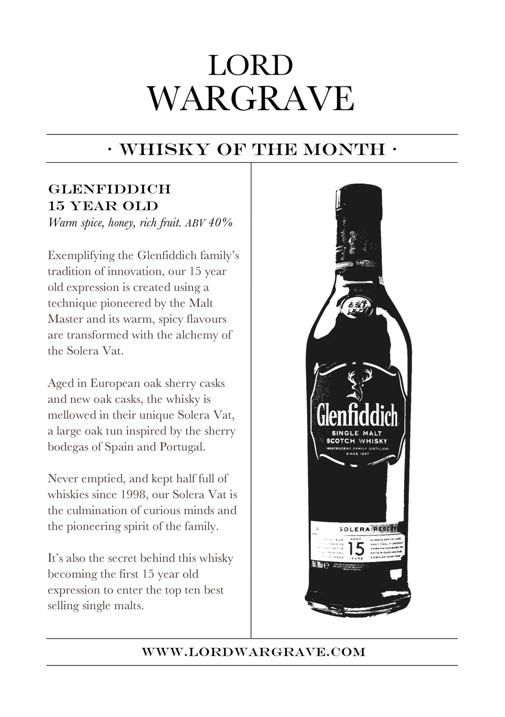 Whiskey of the month - Glenfiddich 15 year old