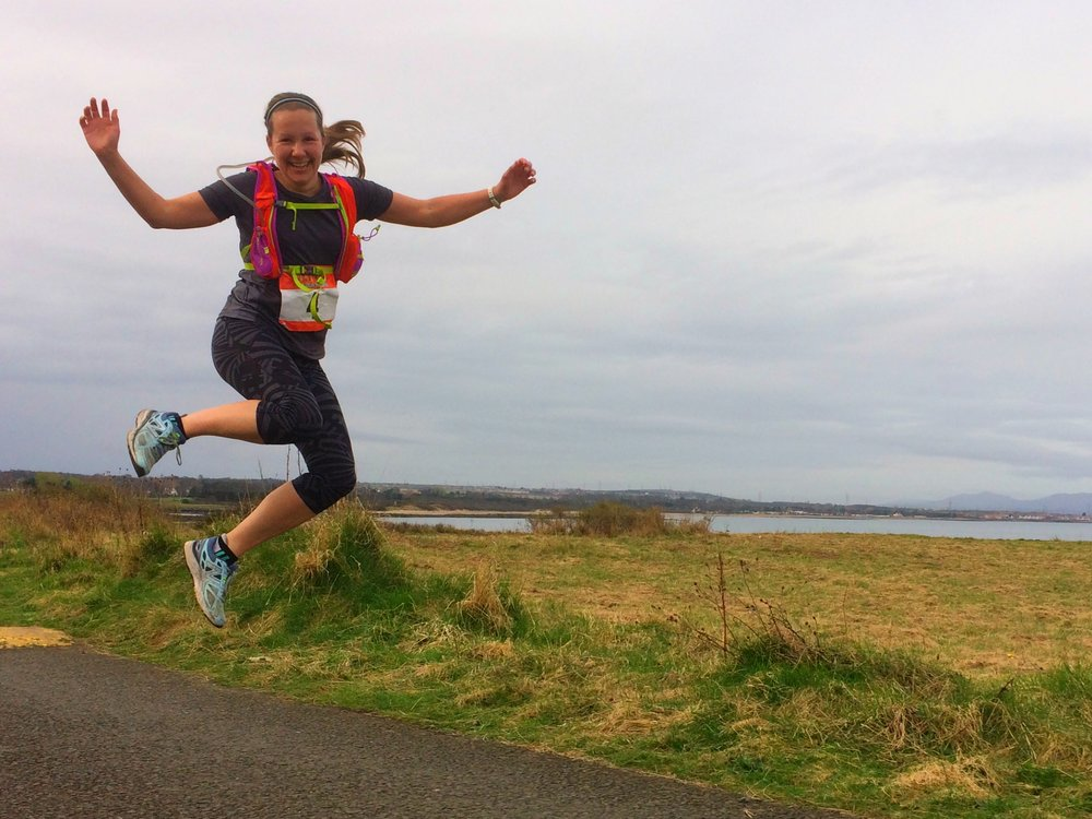 Steph Valentin jumping for joy at Longniddry Bents