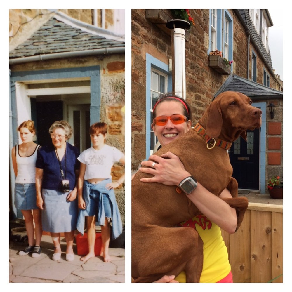 Look very closely at the door behind these images. I am to the left of Granny with my twin sister, Helen to her right.  TWENTY years later I stand just a few meters in front of this very spot with my special ginger ninja.