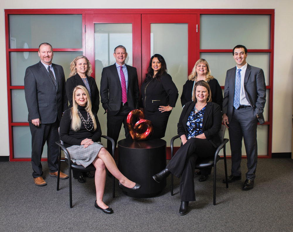 Front row, from left: Kayli Smith, Chief Operating Officer; Crystal Page, Chief Financial Officer. Back row, from left: Henry Bode, Director of Lab & Distribution; Debbie Bratton, Director of Human Resources; Collin Hermreck, Director of Marketing & Public Relations; Deborah Fulton, Director of Clinical Operations & Chief Compliance Officer; Sheryl Davenport, Director of Corporate Accounts Receivable; Dustin Billings, Director of Information Systems