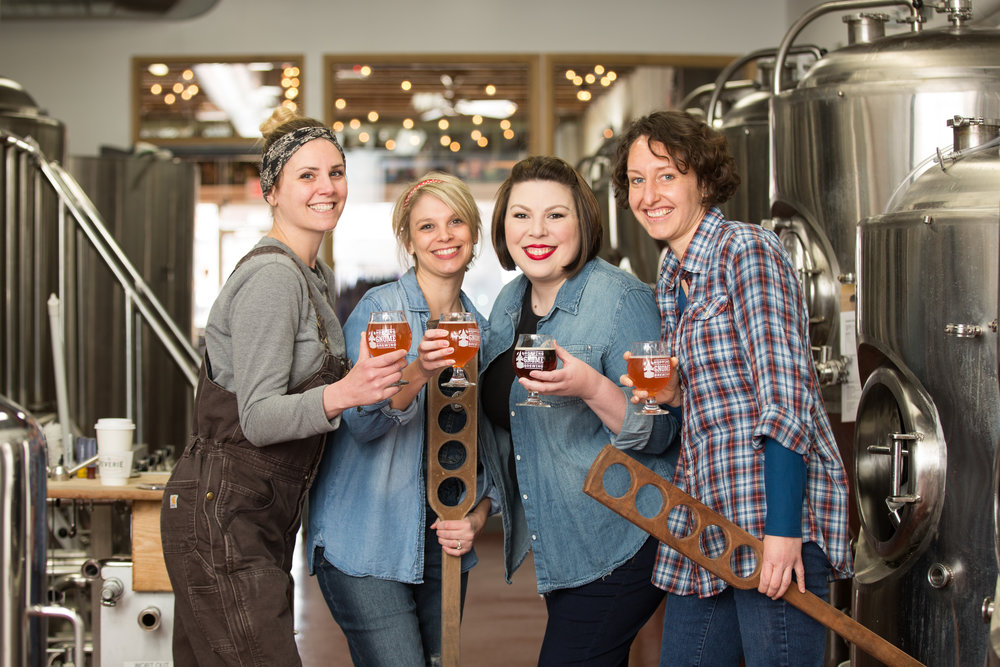 From left, Mandy Akers, Stacy Ward Lattin, Erin Paulson and Rebecca Ignowski brewed HBIC Ceiling Breaker at Hopping Gnome Brewery to honor International Women's Day.
