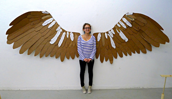 isabelle with cardboard wings