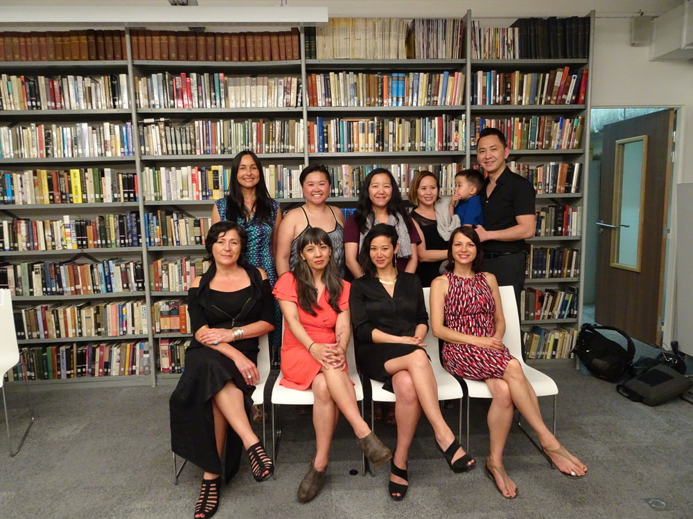 She Who Has No Master(s) at the American Library in Paris (May 27 2017). Left to right: (back row) Isabelle Thuy Pelaud, Thao P. Nguyen, Aimee Phan, Lan Duong, Viet Thanh Nguyen, and son Ellison; (front row) Hoa Nguyen, Dao Strom, Angie Chau, Julie Thi Underhill.
