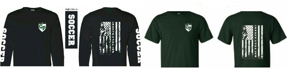 leftto right:   black long sleeve tee shirt, green short sleeve tee shirt