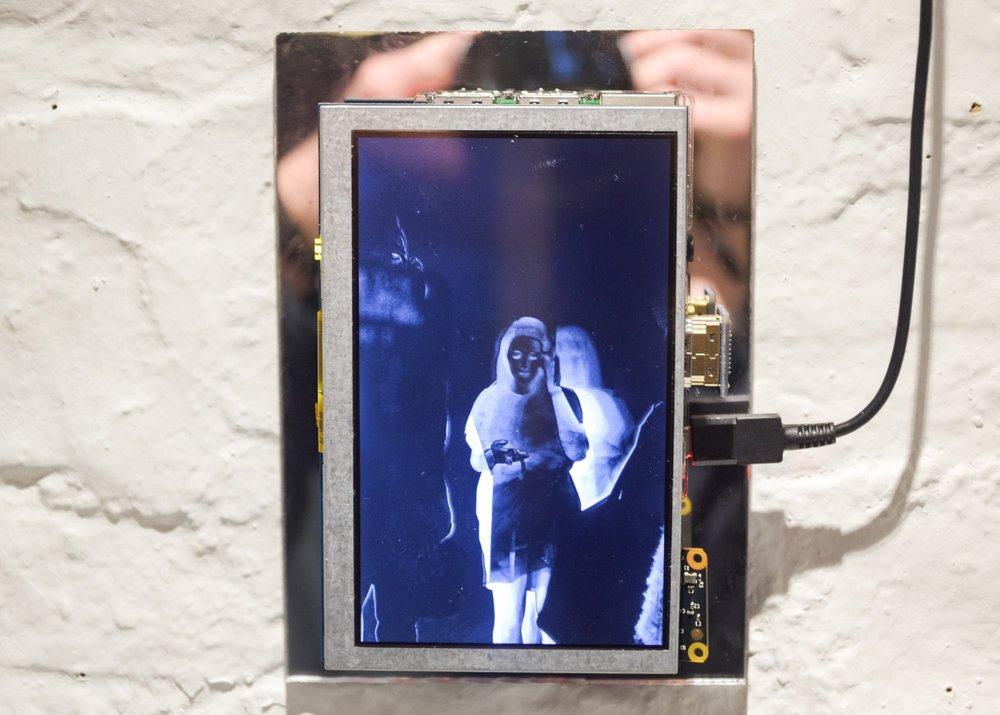 "Oscar Cass-Darweish,  Between Frames , 2017, Rasberry Pi and 5"" display"