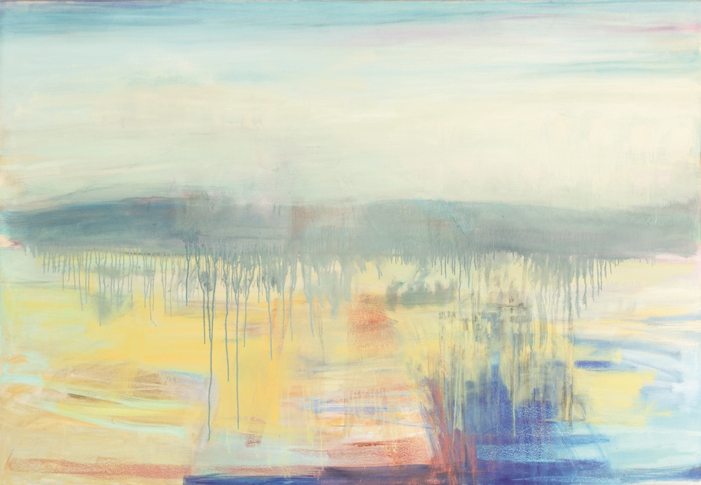 Scarp-Winter/Cobalt-Yellow, 2015, mixed media, oil on canvas, 177x122cm