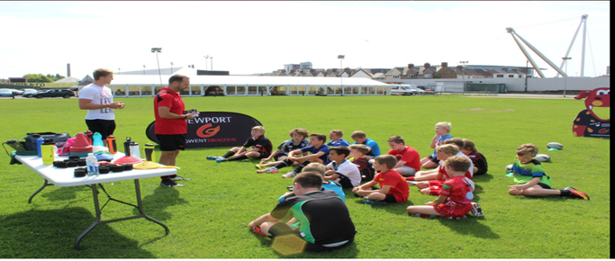 Wales international Tyler Morgan attends the summer skills camp at Rodney Parade