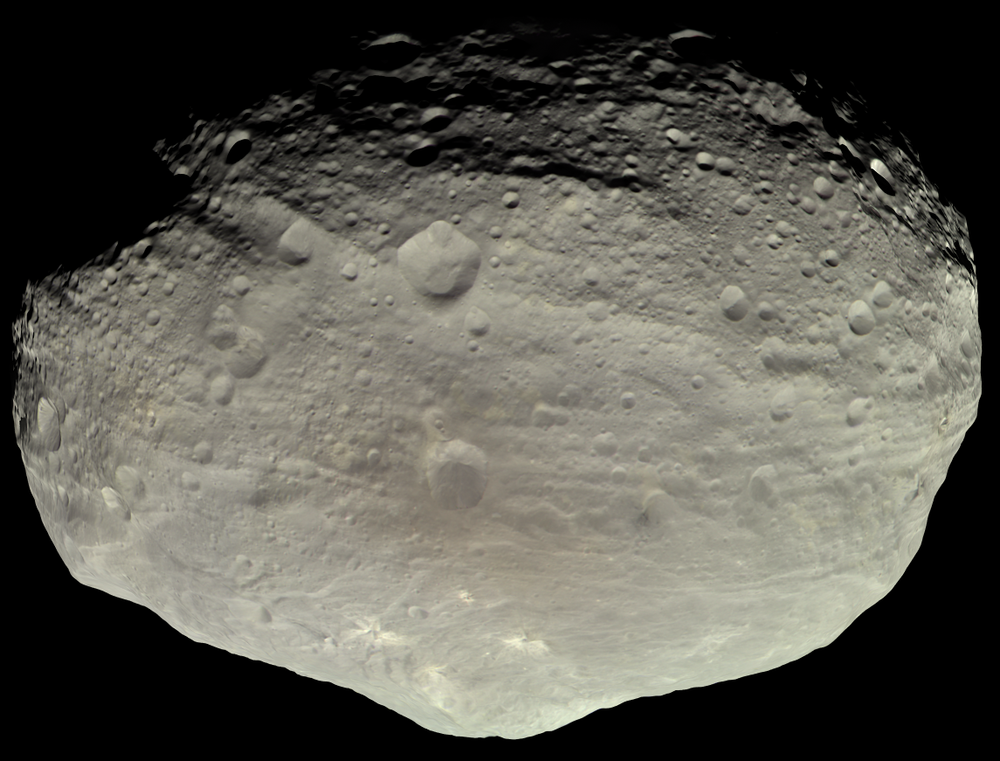 Image of 4 Vesta asteroid, generated  by NASA from high-resolution imagery acquired during the Dawn mission.