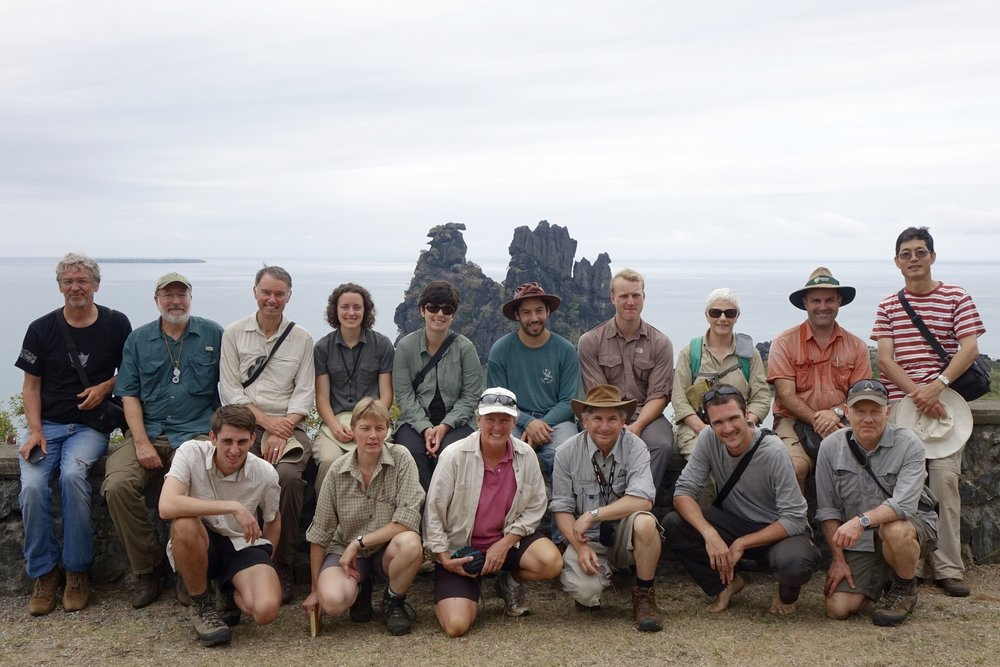 "Group photo at ""chicken rock"" (limestone), New Caledonia"