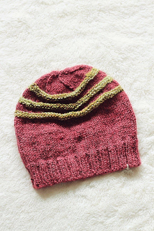 8a6eb1940d5 Handmade knit beanie hat with contrast stripes - Dusty rose by Hajrija —  CEW Design Studio