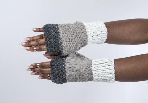 Handmade Knit Fingerless Gloves In Tri Band Pattern Grey By Bahra