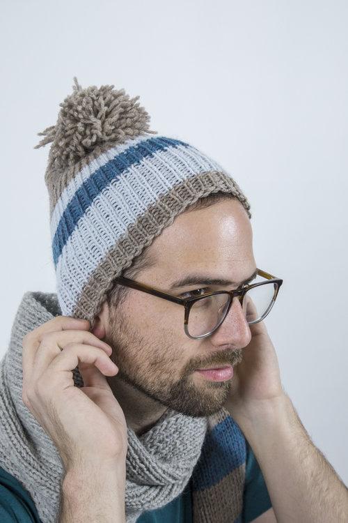 f79bb7dbe48 Handmade multicolored striped cap with self pom pom - Grey by Anka