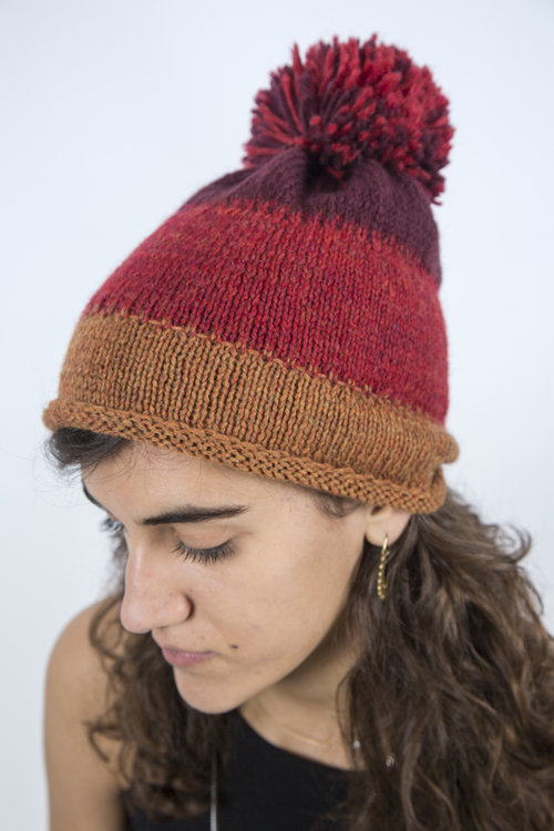 558a3afb47f Handmade Cap with tri-bands and self pom pom - Rust by Halida ...