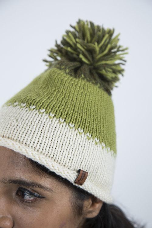 b113f328e62 Handmade Cap with tri-bands and self pom pom - Avocado by Bahra  CEW slideshow Lookbook 0239.jpg