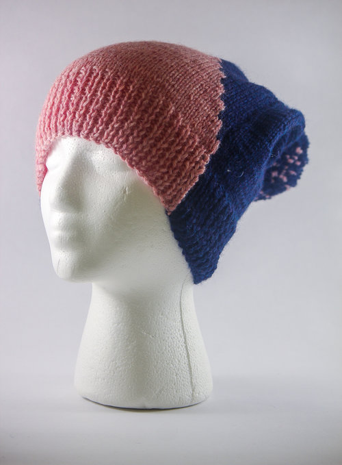 34445d0d1bc Handmade abstract dual colored cap with self pom pom - pink and navy by  Bahra ...