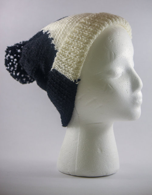 f84dfde4e7d Handmade abstract dual colored cap with self pom pom - black and white by  Bahra ...