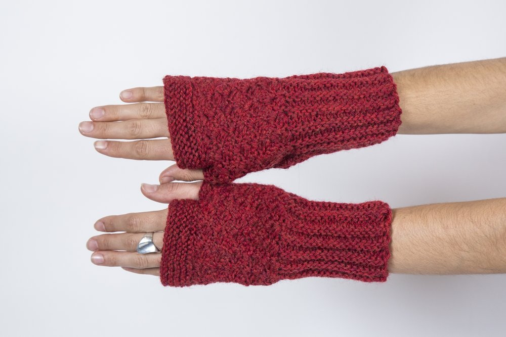 Handmade Knit Fingerless Gloves With Textured Pattern Red By Bahra