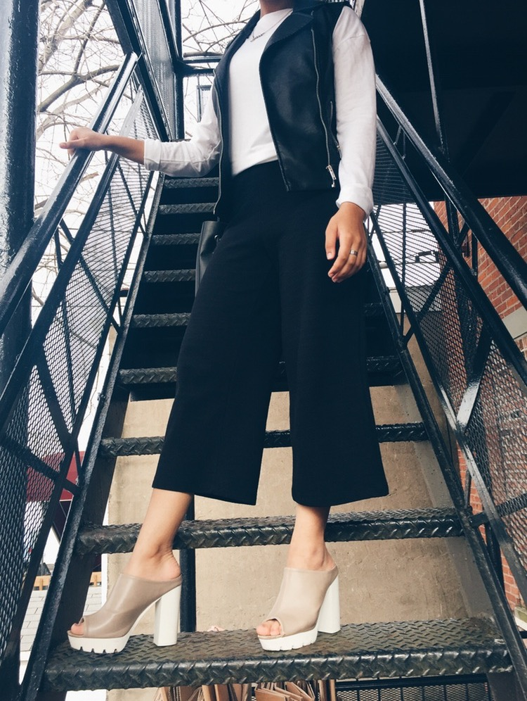 T-Shirt - Zara  Leather Vest - New Look  Culottes - Zara  Platforms - Charlotte Russe