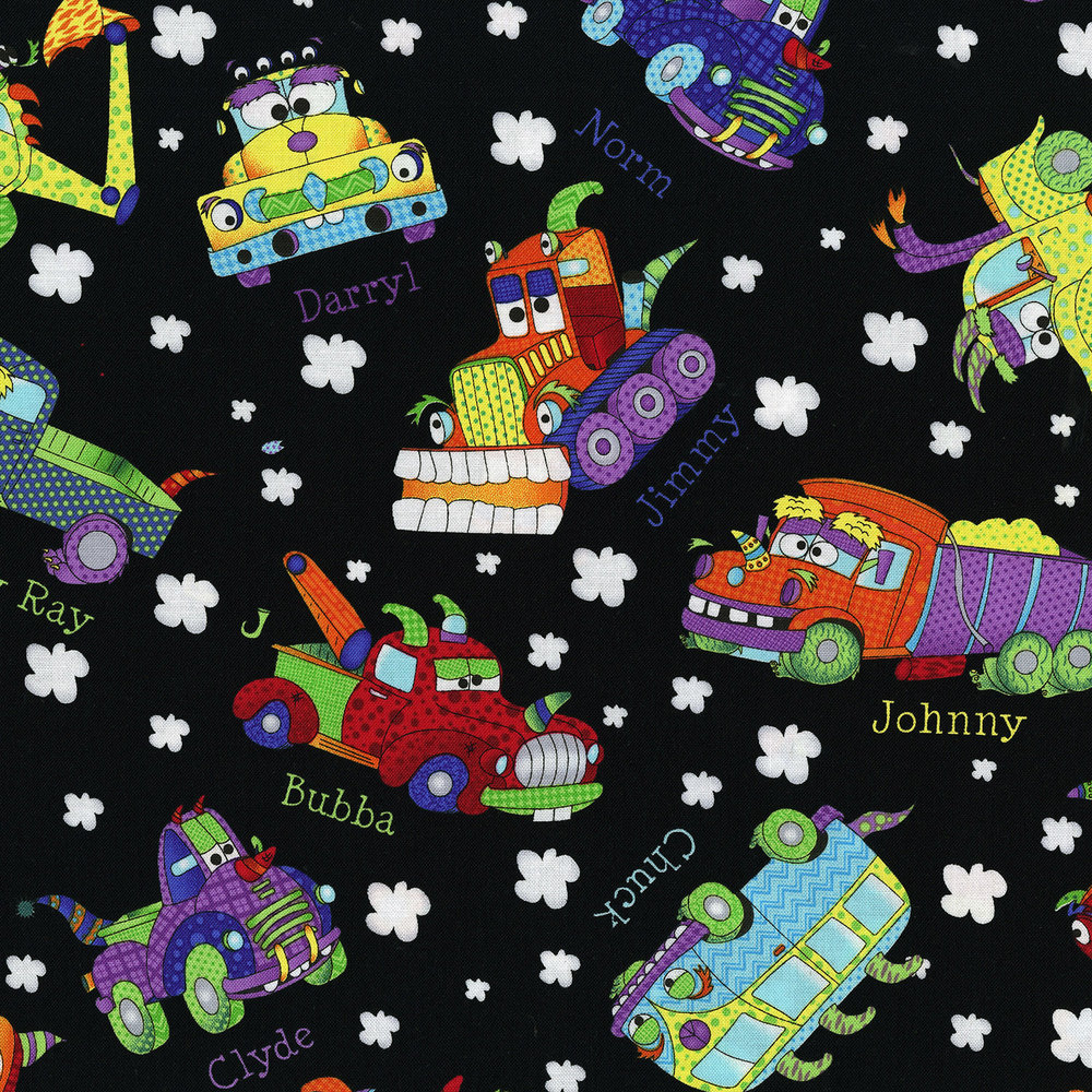 Monster trucks rjr fabrics for Monster truck fabric