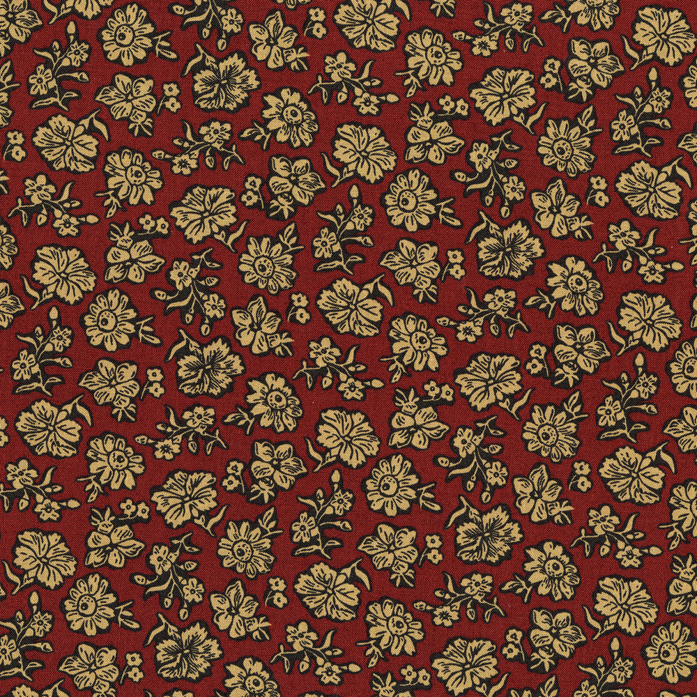 3057-002 SHADOW FLOWER-BRICK RED