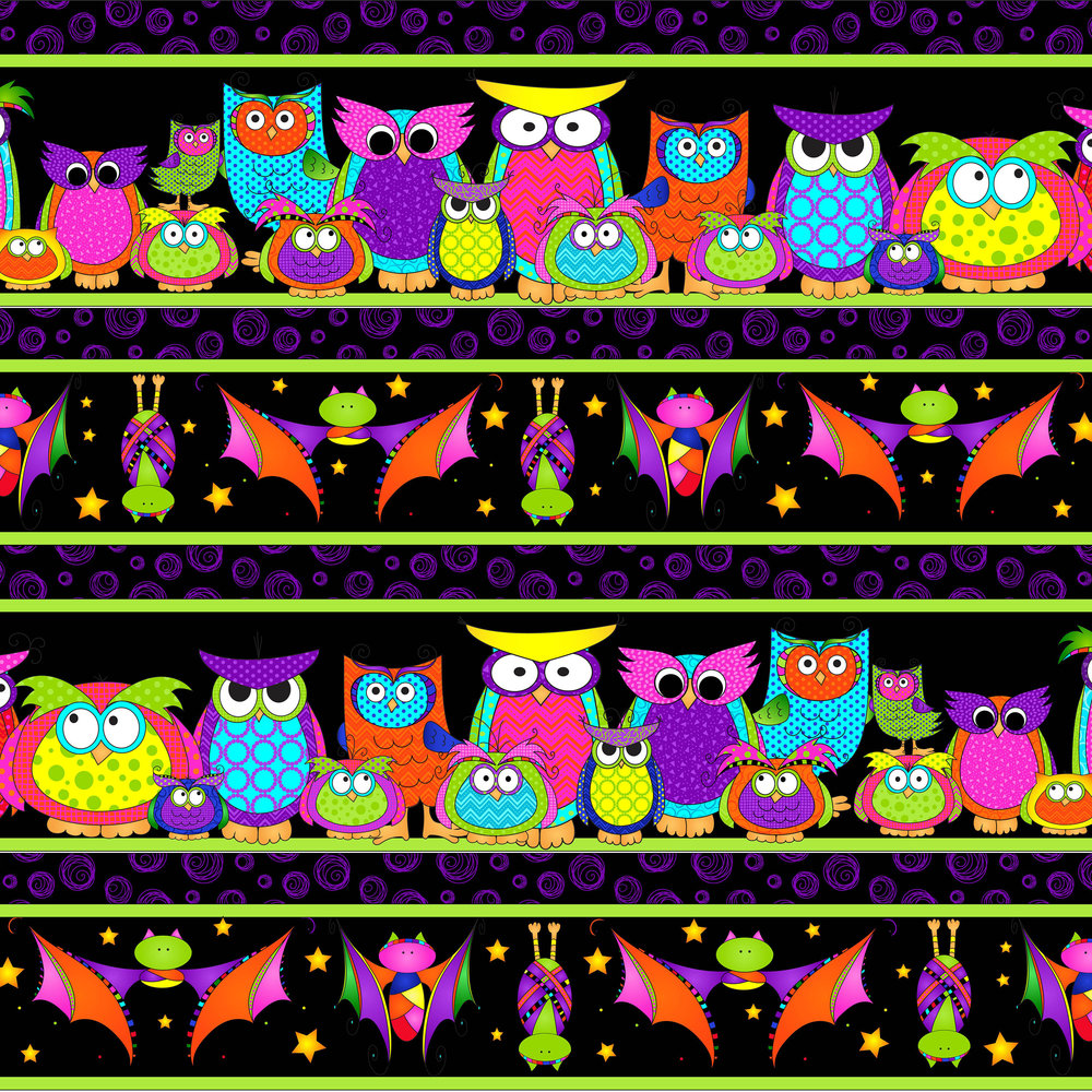 3122-001  PARLIAMENT OF OWLS BORDER STRIP-BAT BLACK