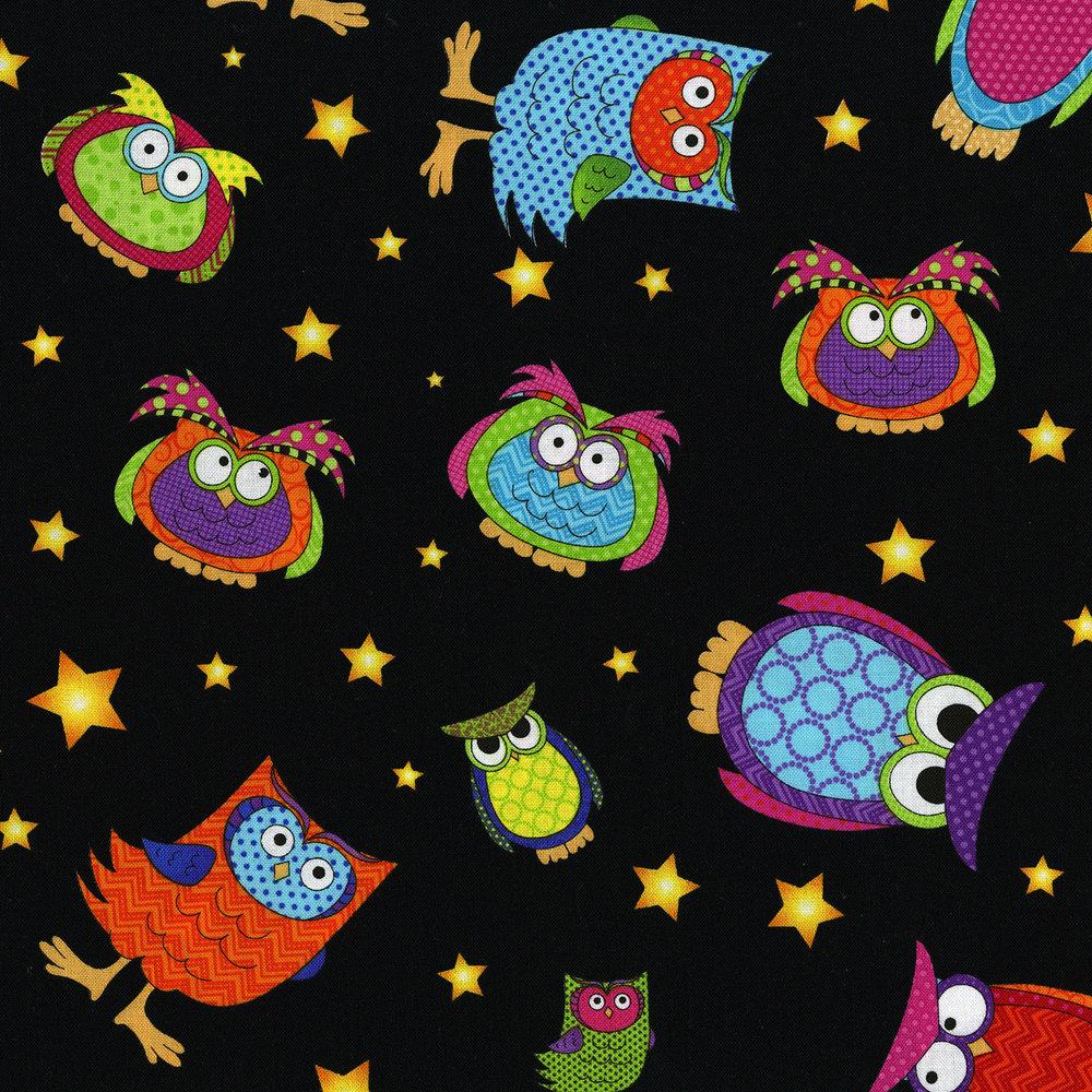 3123-001 OWLS EVERYWHERE TOSS-BAT BLACK