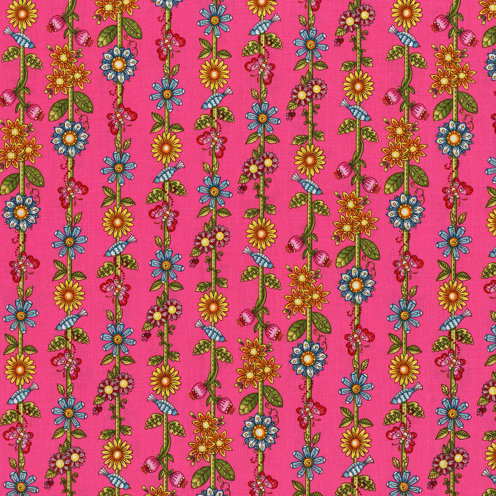 3246-003  GARDEN FLORAL STRIPE-HOT PINK
