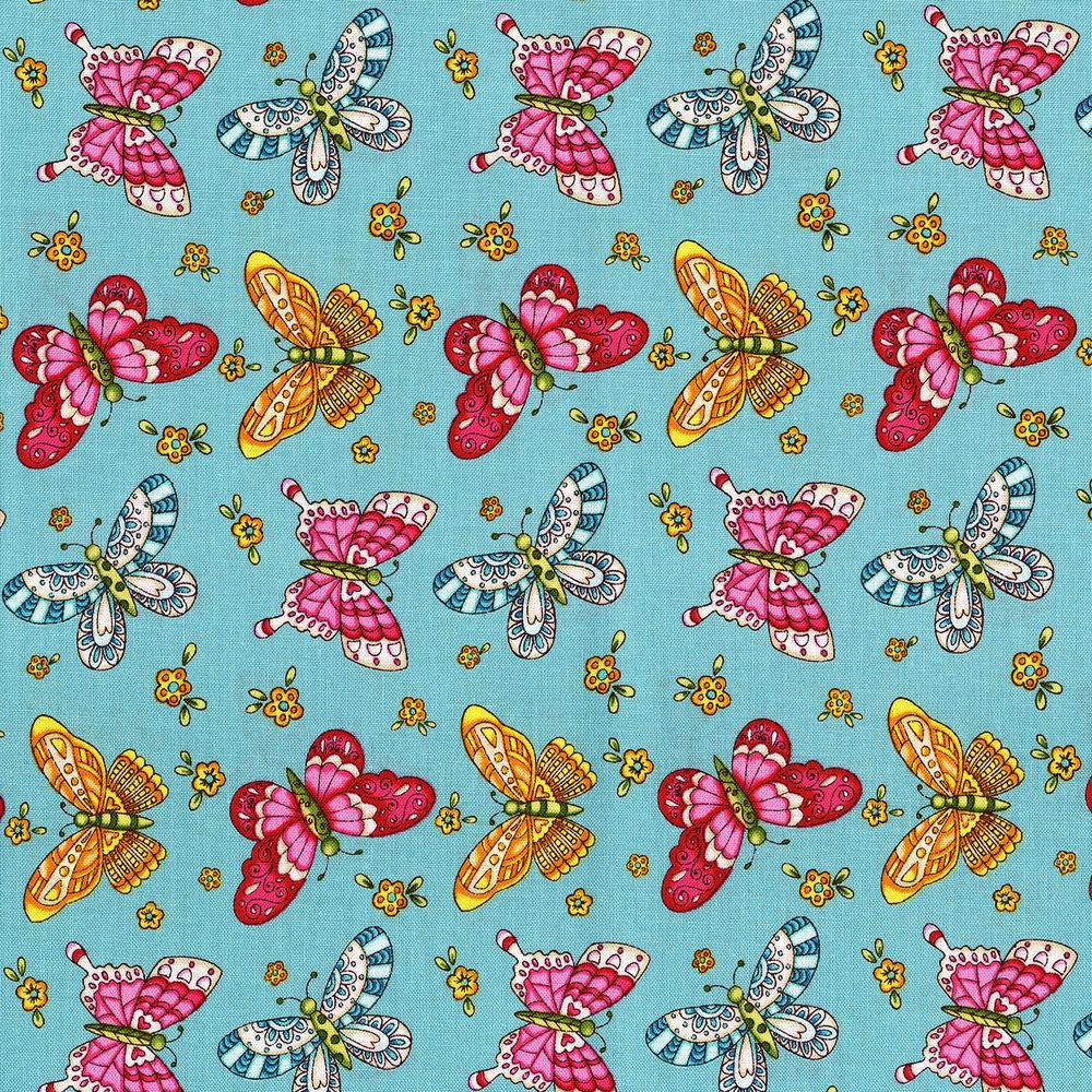 3245-001 BUTTERFLIES-AQUA