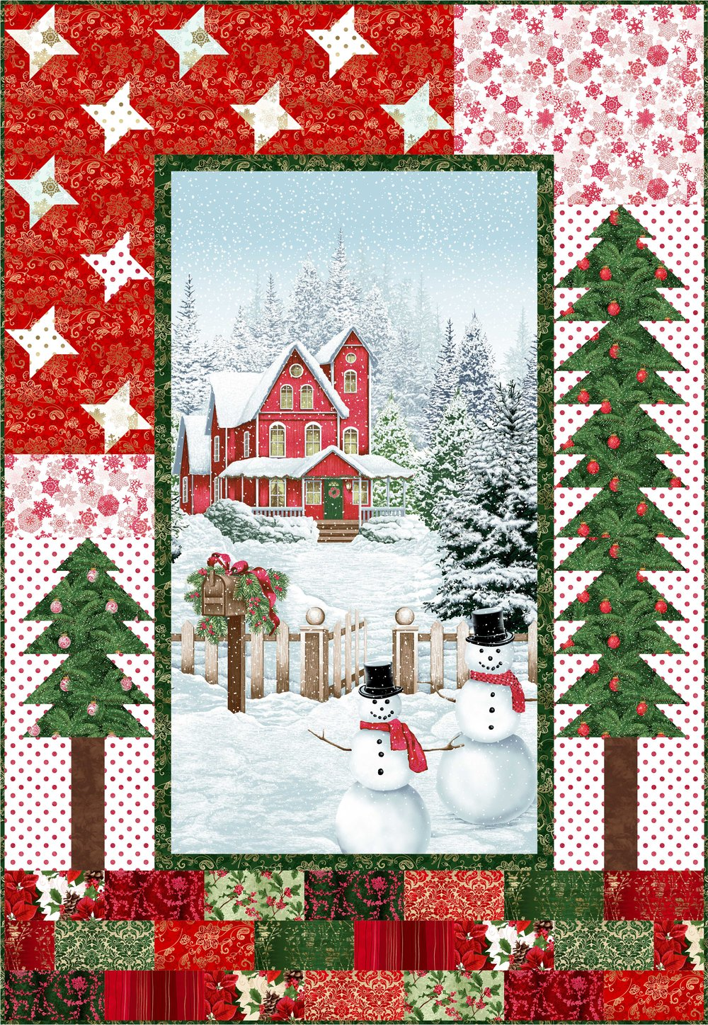 """Merry Little Christmas"" Free Christmas Quilt Pattern designed by Jennifer Fulton from The Inquiring Quilter brought to you by RJR Fabrics"