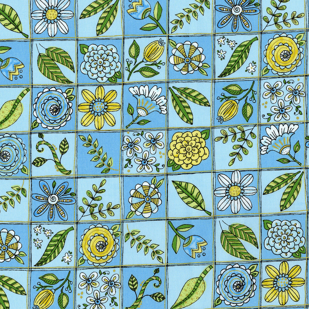 3378-002 DOODLE GARDEN-BLUE