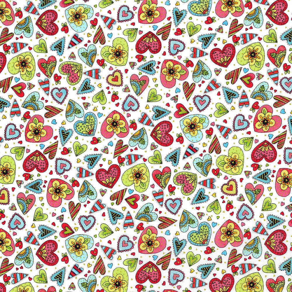 3380-001  DOODLE HEARTS-MIXED