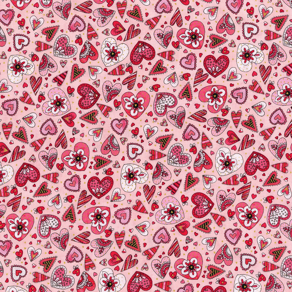 3380-003  DOODLE HEARTS-CORAL