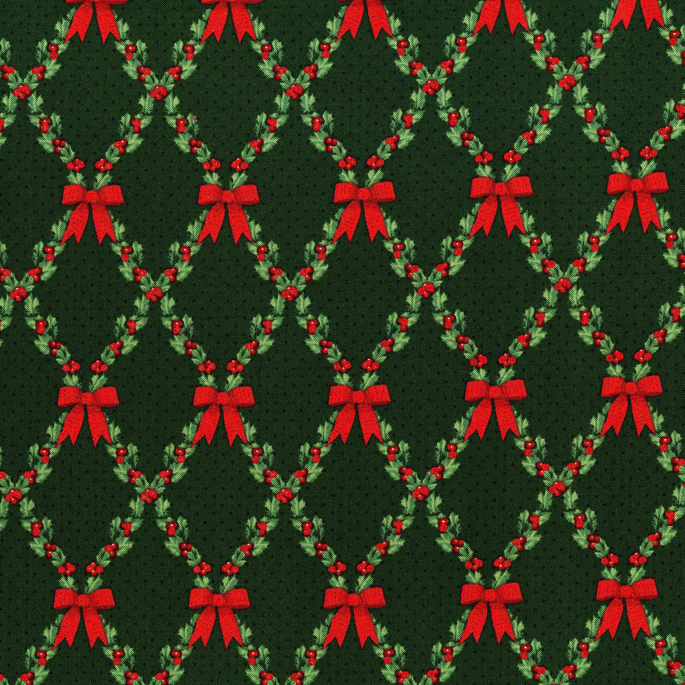 3490-002  BOWS AND HOLLY-RADIANT PINE