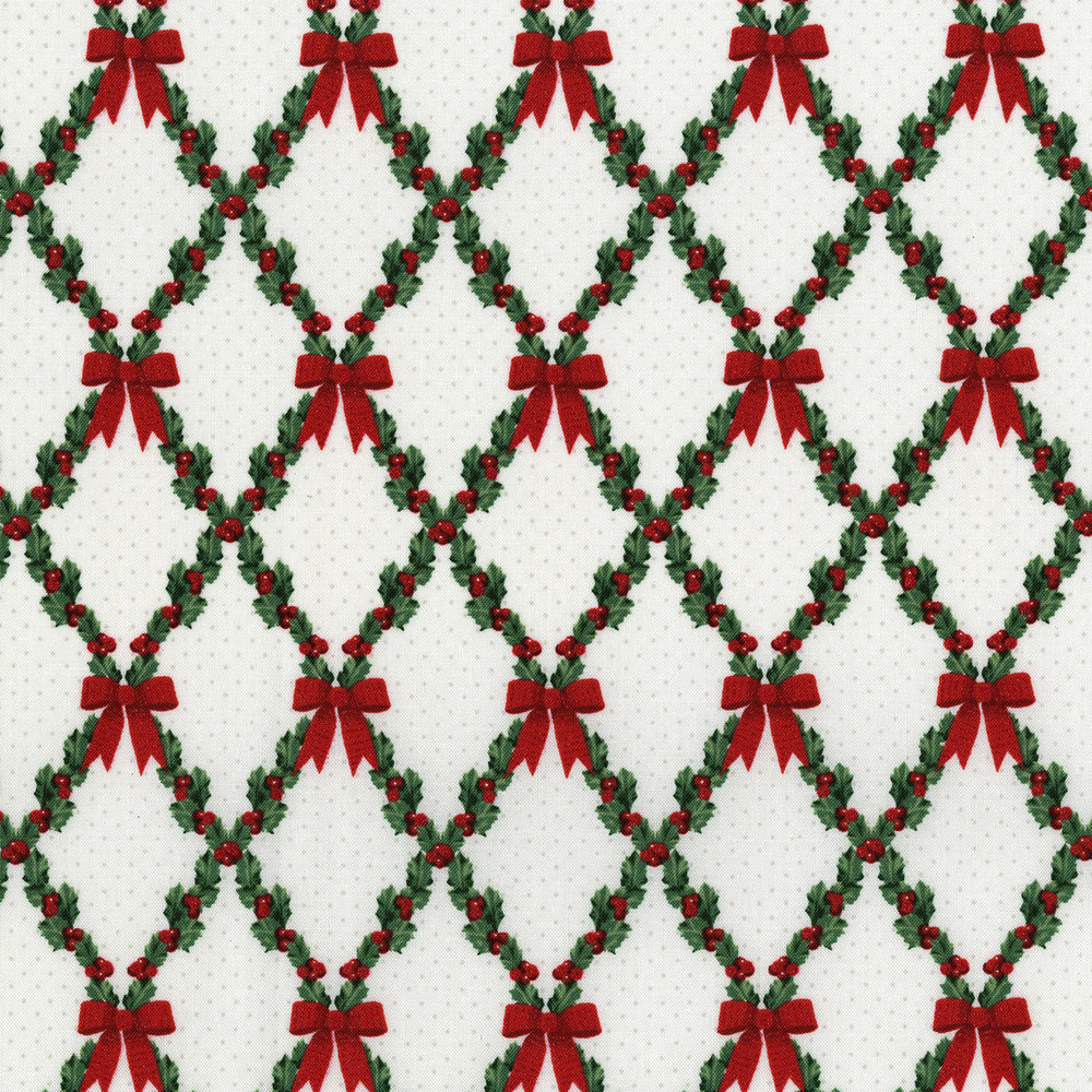 3490-003 BOWS AND HOLLY-RADIANT WINTER WHITE