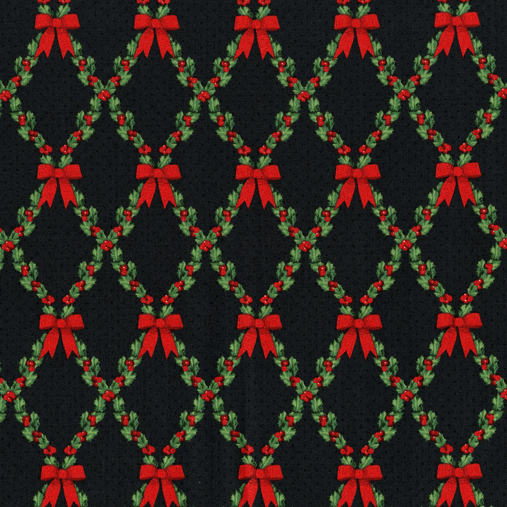 3490-004  BOWS AND HOLLY-RADIANT BLACK