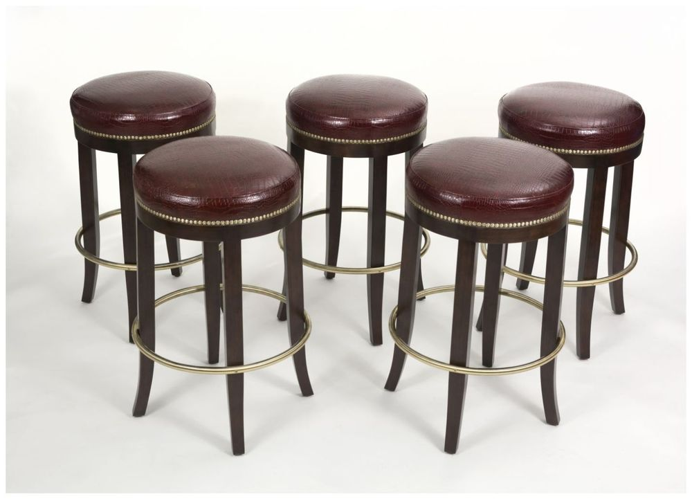 Custom Barstools with Brass Footrests and Brass Nailhead